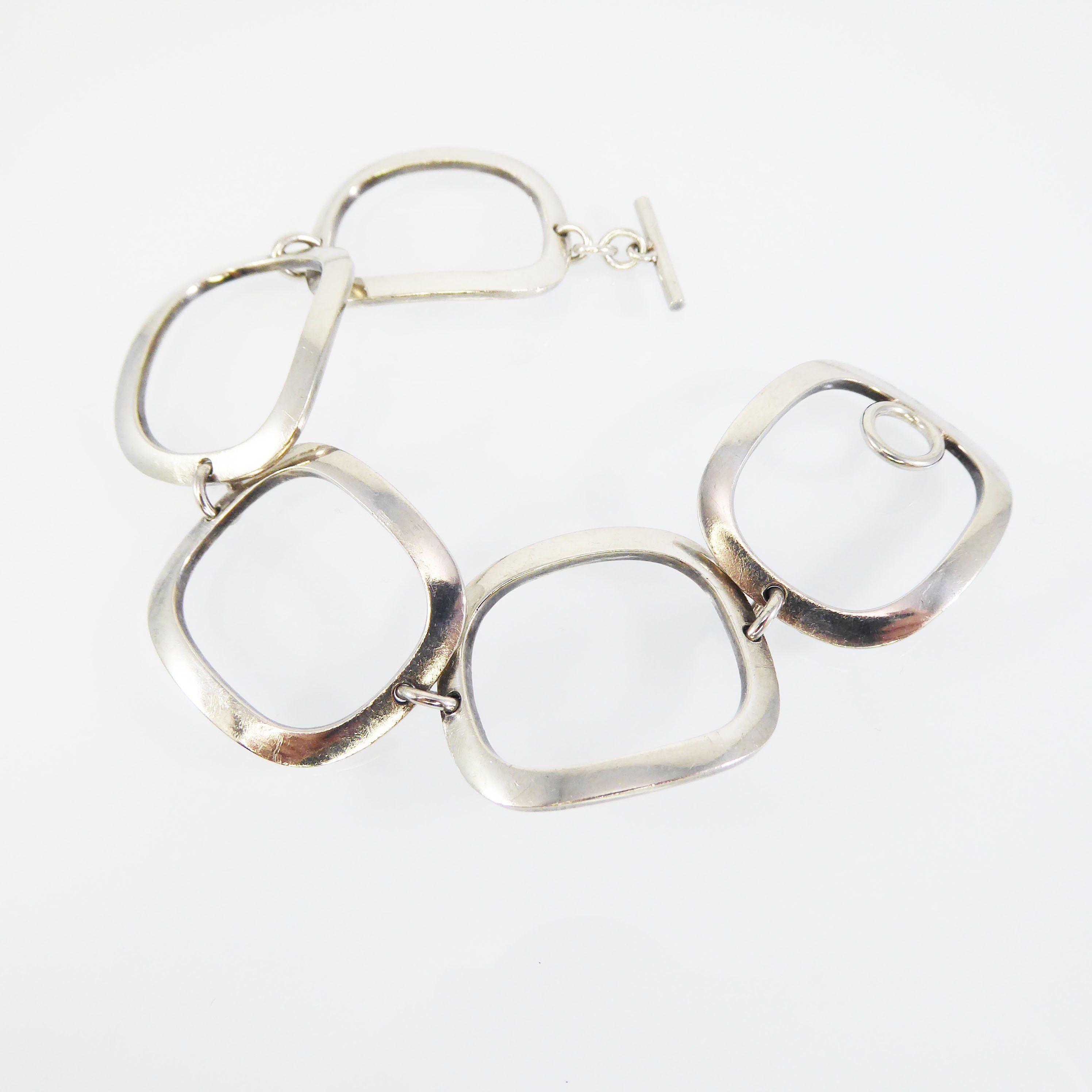 Georg Jensen Sterling Silver Bracelet Modernist Square Links Scandinavian Danish Artist Signed 925 Denmark 192b V Silver Bracelets Georg Jensen Jewelry Jewelry