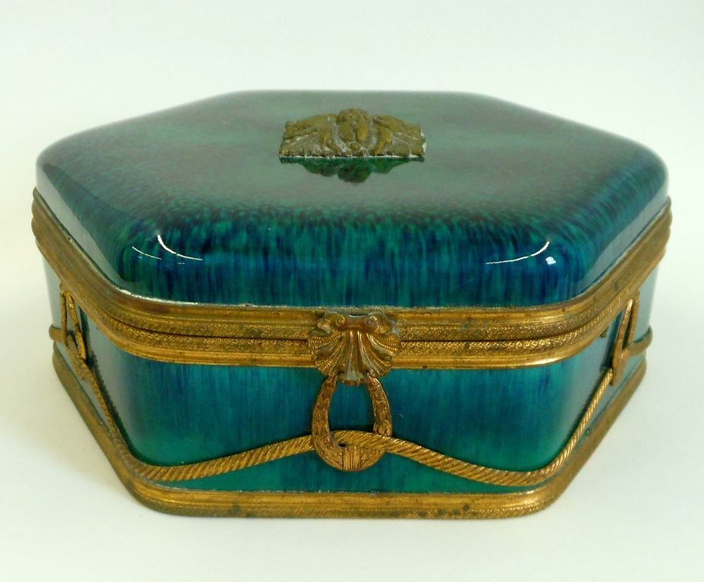 Antique MP Sevres Porcelain Jewelry Box Green Drip Glaze Paul Milet c. 1910    $585.00 - Consignworks, Mass, USA.