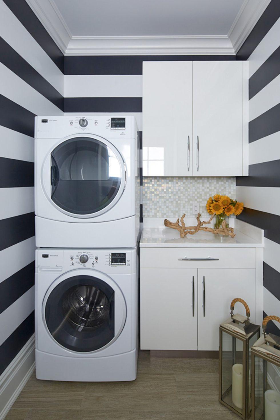 15 Brilliant Design Ideas For Small Laundry Rooms Small Laundry Rooms White Laundry Rooms Small Laundry