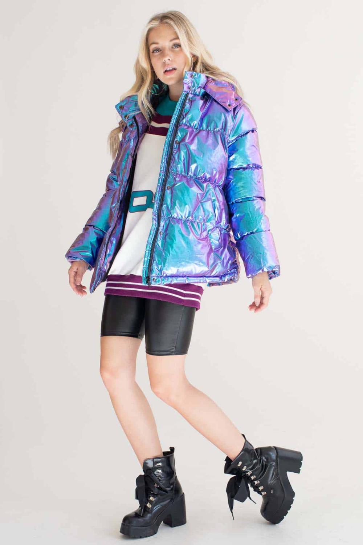 Mermaid Metallic Puffer Jacket Ragstock Coats Jackets Women Puffer Jackets Jackets For Women [ 1500 x 1000 Pixel ]