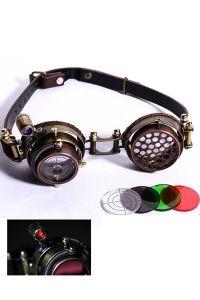Steampunk Brille mit Wechselgläsern & LED Licht