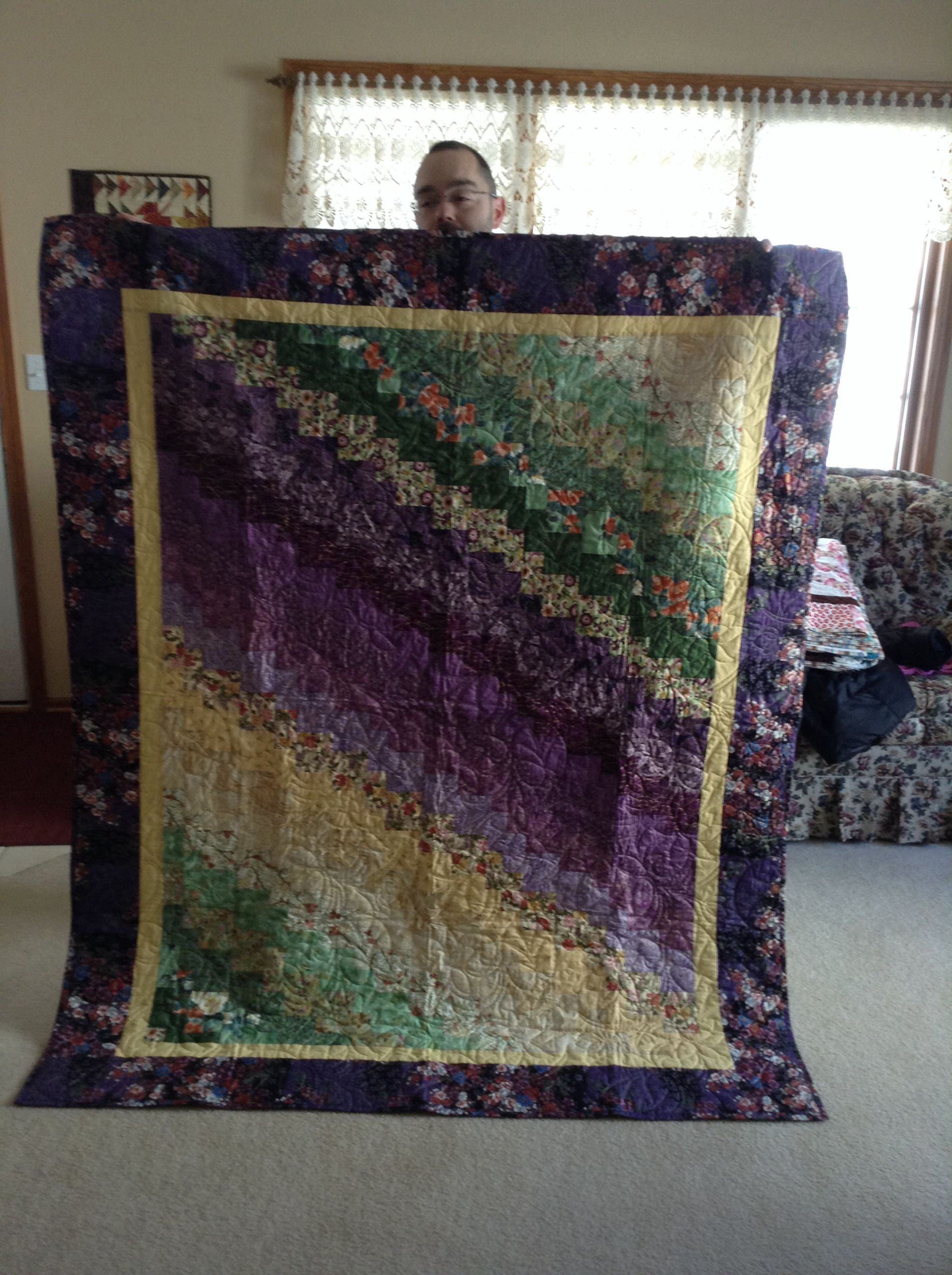 Quick Quarter Quilt by Eleanor Burns made from a collection of Asian fabrics. Gifted to my mom Christmas 2014.