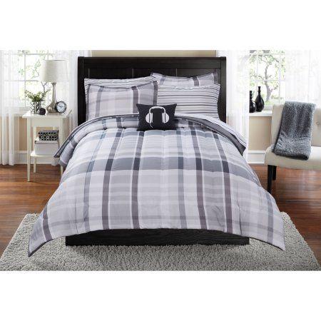Walmart Bedroom Sets Cool Mainstays Plaid Bedinabag Bedding Set Gray  Bed Sets Plaid 2018