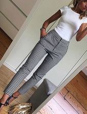 White, fitted top, black and white pants