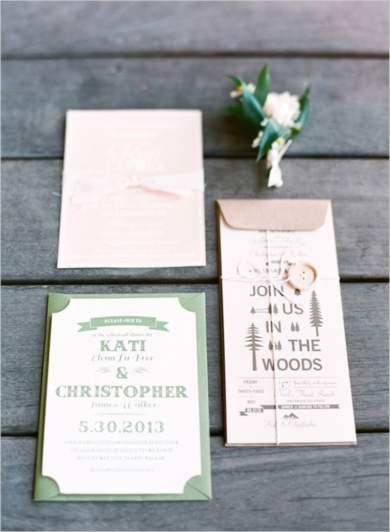 Gorgeous wedding stationery #mint #woods | Elegantly Rustic Wedding at Devils Thumb Ranch — Loverly Weddings