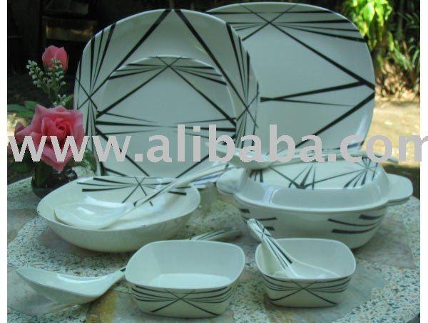Black Thorn Square Melamine Dinnerware Set & Black Thorn Square Melamine Dinnerware Set - Buy Square Dinnerware ...