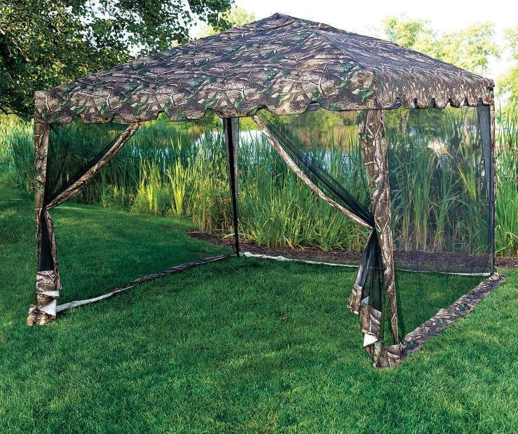 10 X 10 Camo Easy Pop Up Sun Shelter Canopy Garden Tent Gazebo With Netting Gazebo Big Lots Canopy Outdoor Outdoor Gazebos