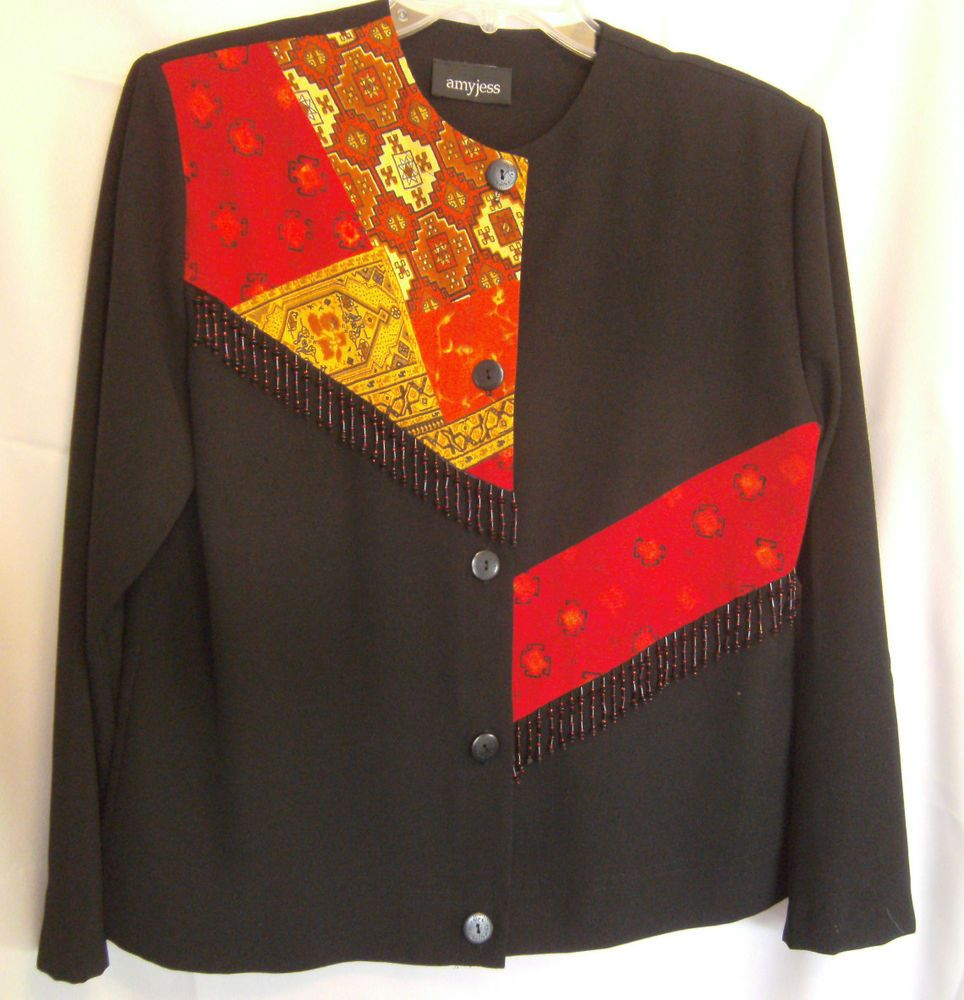 amyjess top black paisley red career lsl poly small button