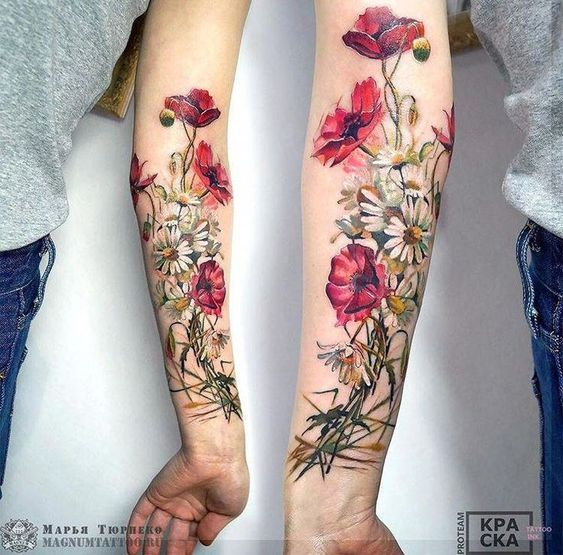 Marya Tyurpeko flower tattoo #sleevetattoos, # flower tattoo #Marya #sl ….. #flowertattoos - flower tattoos