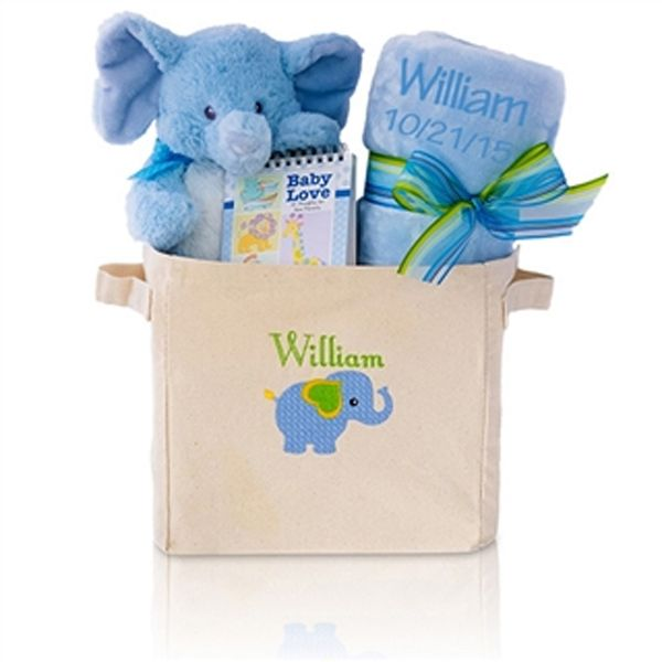 Personalized welcome home baby boy gift tote babies gift and baby welcome home baby boy with this awesome elephant themed gift set negle Gallery