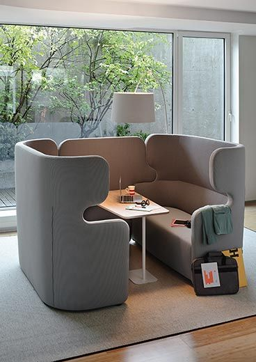 High Back Office Sofa With Connecting Wall Table With Images Office Seating Office Sofa Office Lounge Design