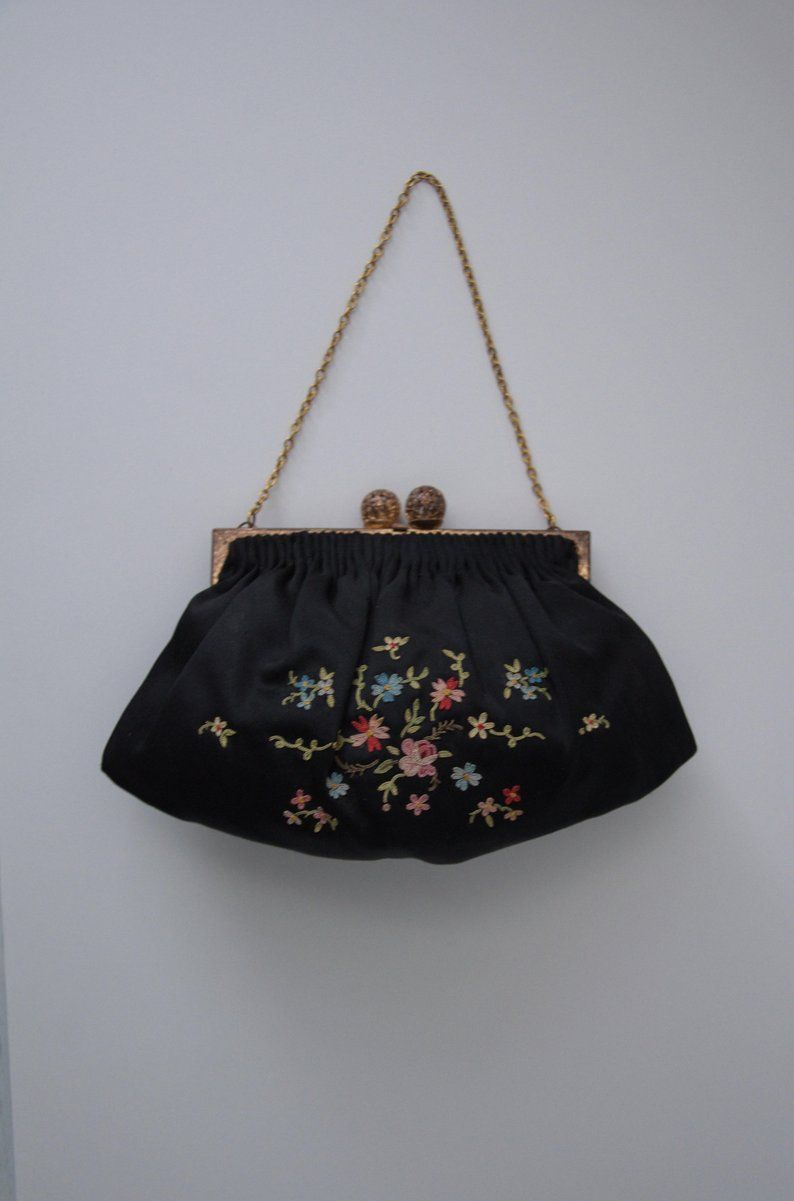 1940s Petite Point Embroidery Handbag Made In France Etsy How To Make Handbags Embroidery Bags Leather Clutch Bags