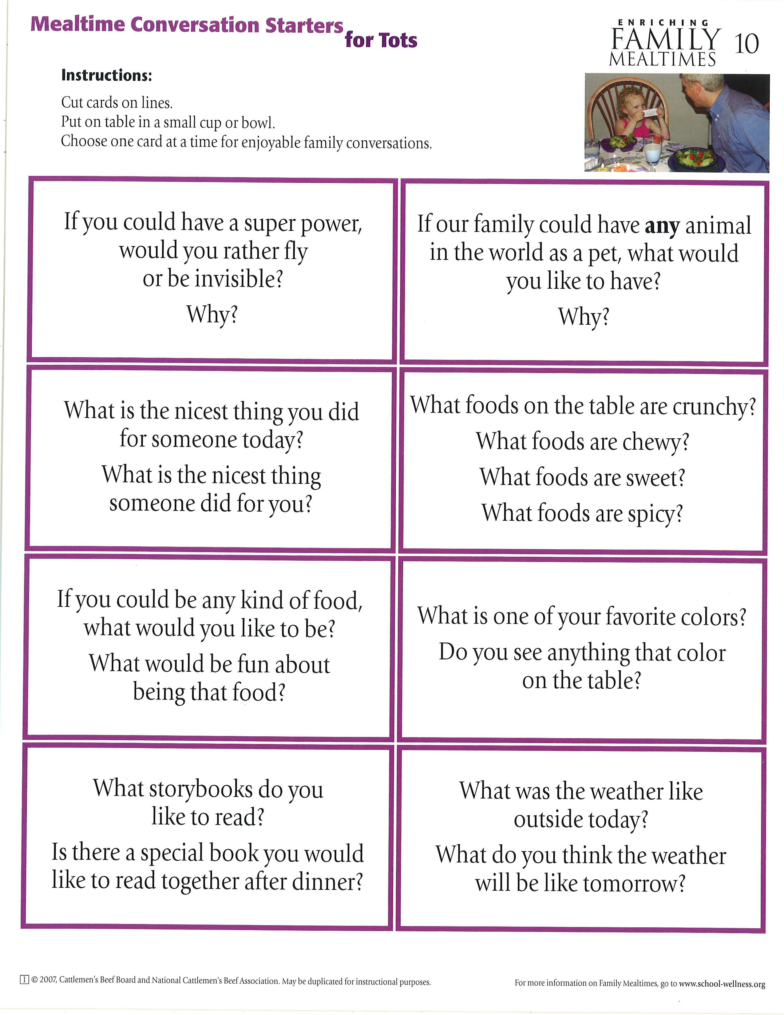 Mealtime Conversation Starters For Toddlers Nybeef