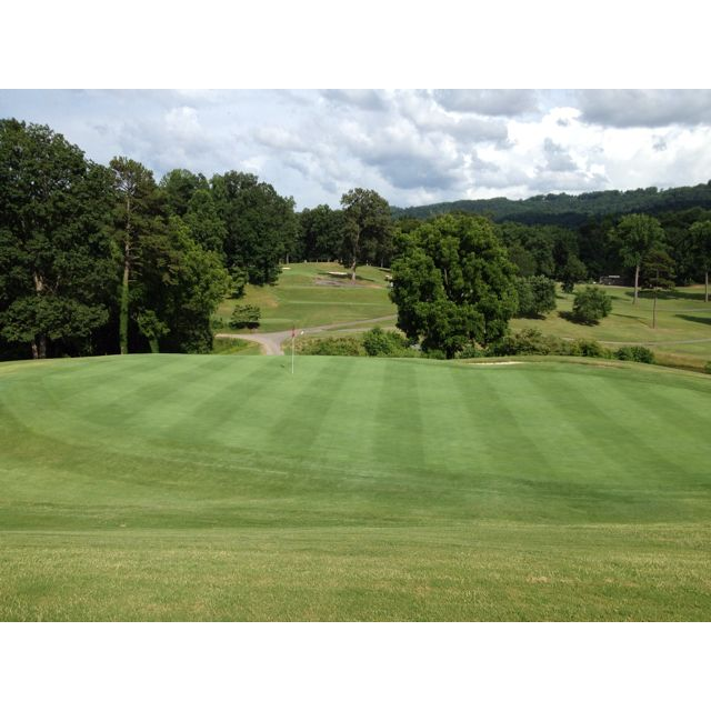 "The 18th hole at ""Oakwoods Country Club "" in Wilkesboro, N.C... Photo by Terry Mckinney.. July 2012.. Lovely golf course.. Private"