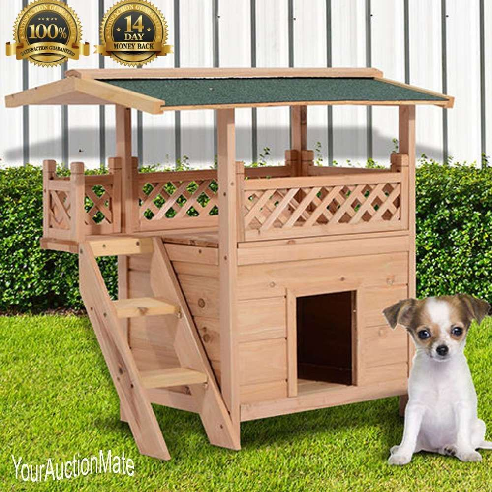 Wood Dog Puppy House Shelter With Roof 2 Story Balcony Bed Stairs