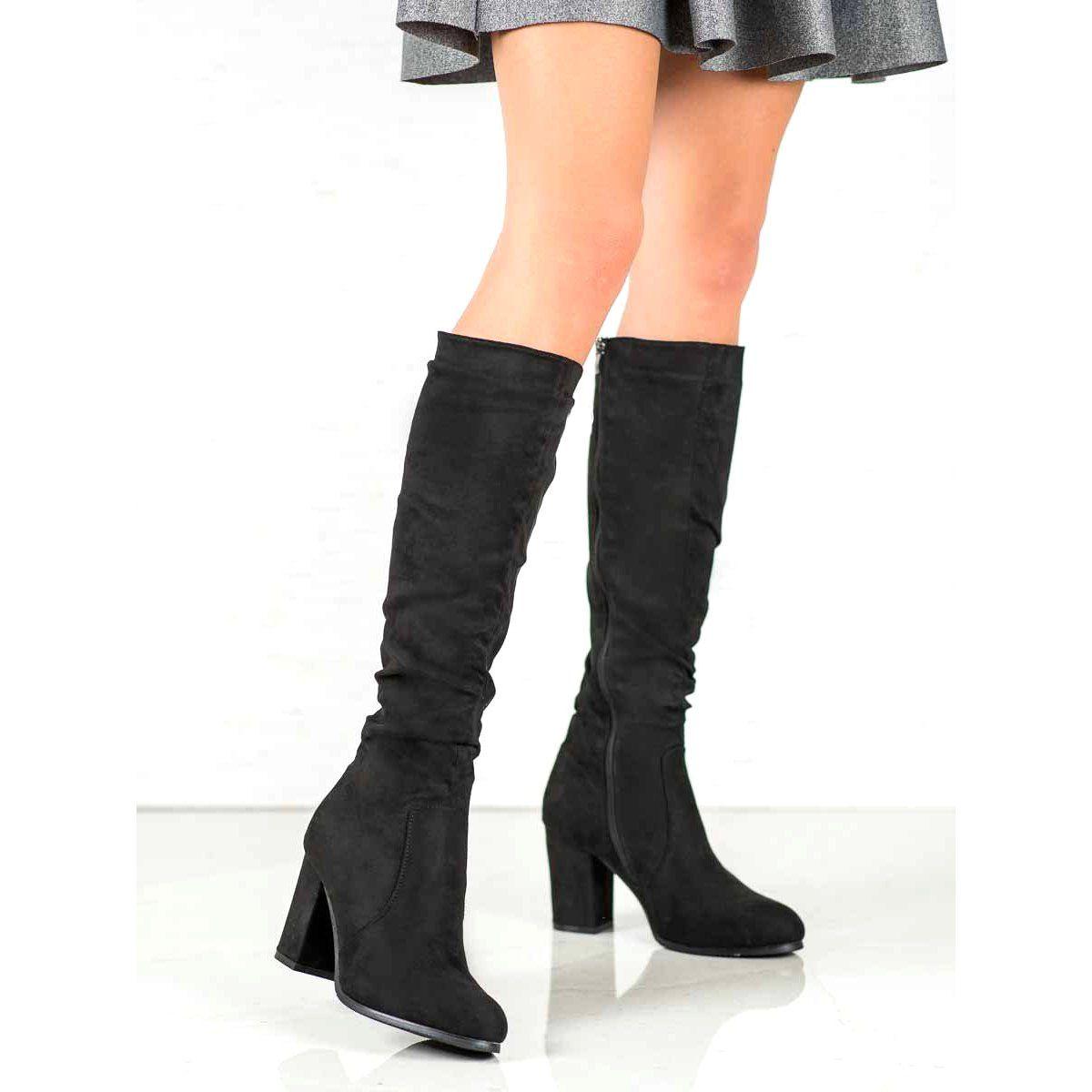 Wilady Zamszowe Kozaki Na Slupku Czarne Boots Womens Boots Boot Shoes Women