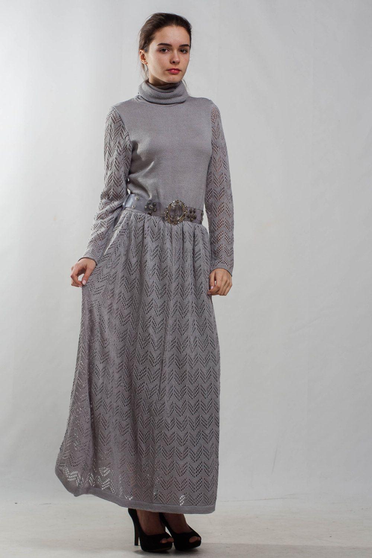 Grey knit dress turtleneck office dress long sleeve crochet grey