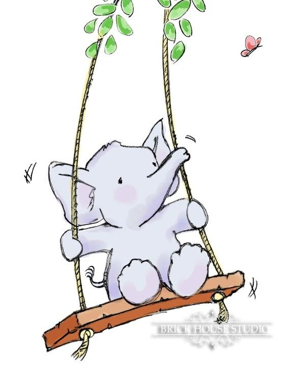 Nursery Room Art  Elephant on Swing 8x10 Print by BrickHouseStudio, $12.00