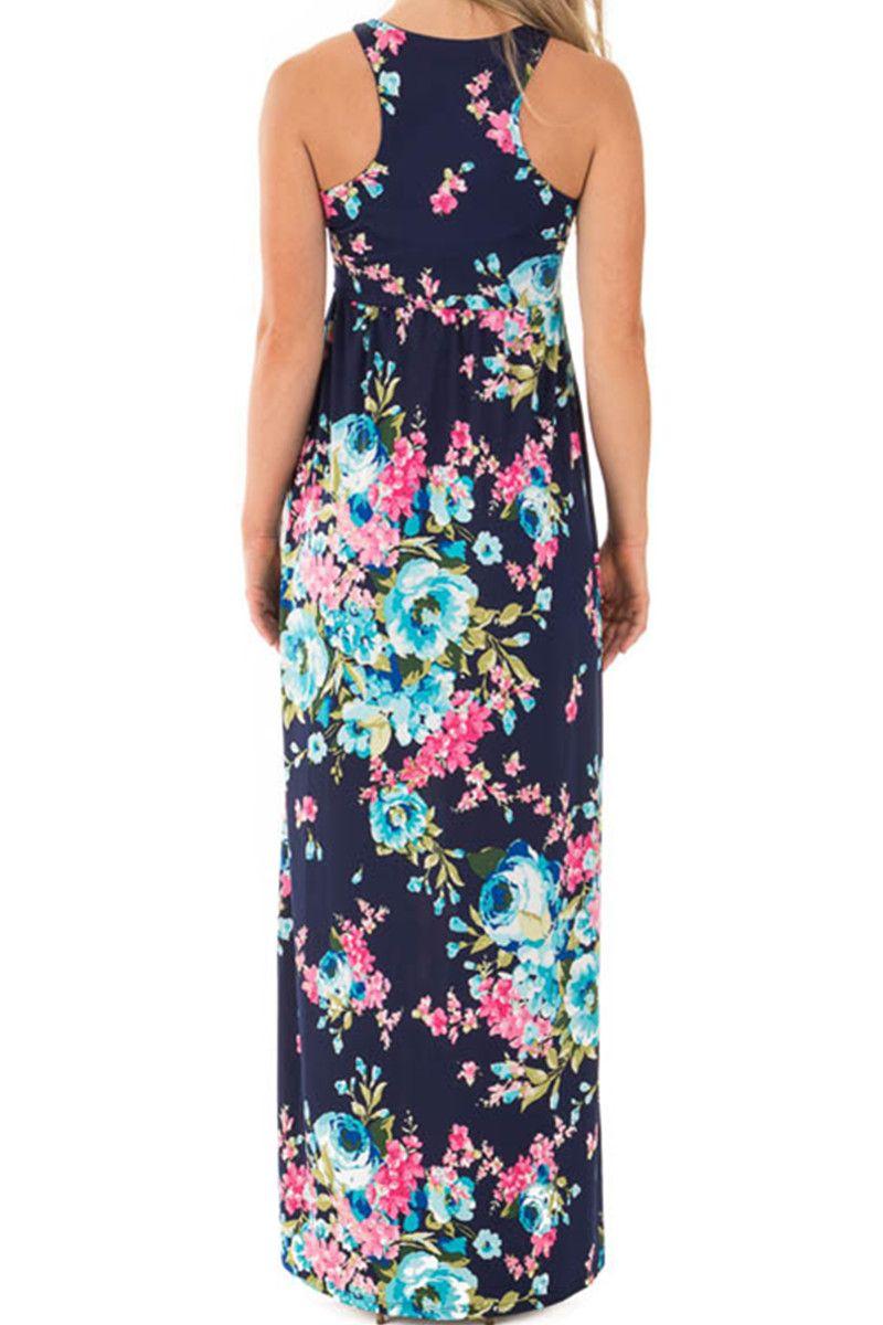 Sleeveless Floral Print Women S Long Maxi Dress Holiday Wear With Pocket Women Long Print Holiday Maxi Dress Maxi Dresses Casual Womens Long Maxi Dresses [ 1200 x 800 Pixel ]