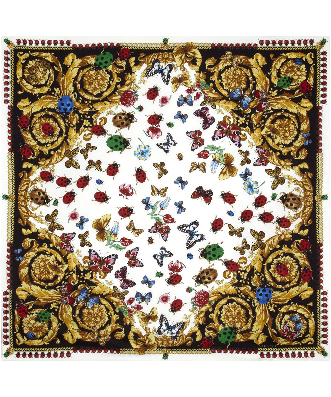 Black and White Ladybird Print Silk Scarf, Versace. Shop ...