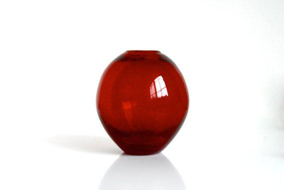 Small Modern Red Glass Vase Little Red Vase Red Modern Vase Dark