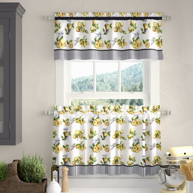 Wadebridge Lemon Drop Tier And Valance Window 58 Kitchen Curtain In 2020 Kitchen Curtains Curtains Valance