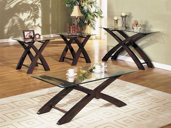 Espresso Entry Tables Espresso Glass 4 Pc Coffee Table Set Ebay