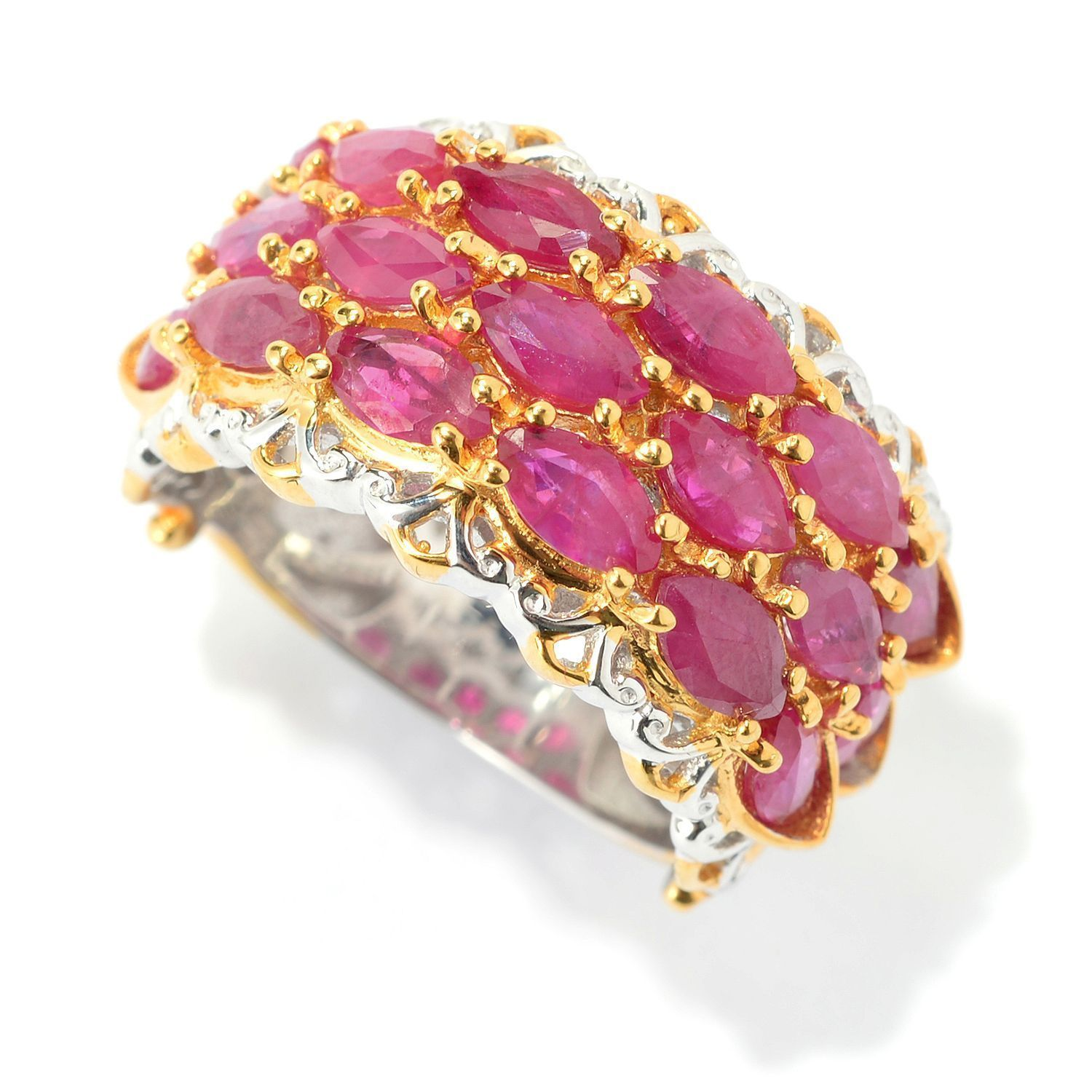Michael Valitutti Palladium Silver Marquise Ruby Three-Row Band Ring ...