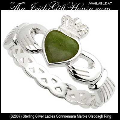 Claddagh Ring Connemara Marble Sterling Silver Irish Made