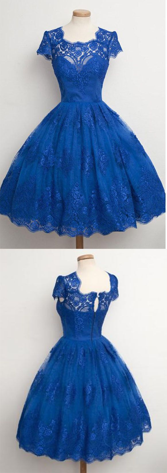 Green dress with lace overlay  Vintage ScallopedEdge Cap Sleeves Lace Blue Short Prom Cocktail