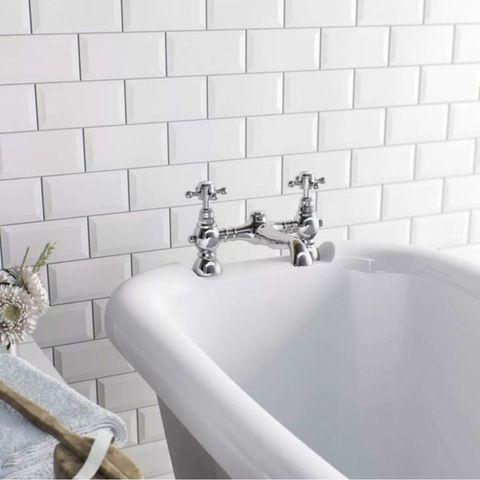 British Ceramic Tile Metro Bevel White Gloss Tile 100mm X 200mm Bath Mixer Taps Bathroom Wall Tile Classic Bathroom Design