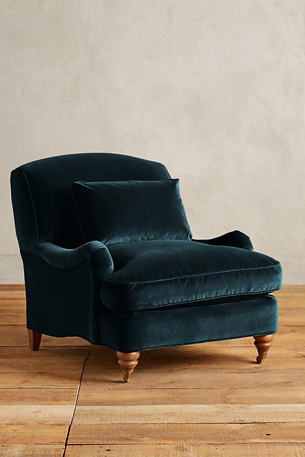 Slide View: 1: Velvet Glenlee Chair, Landon