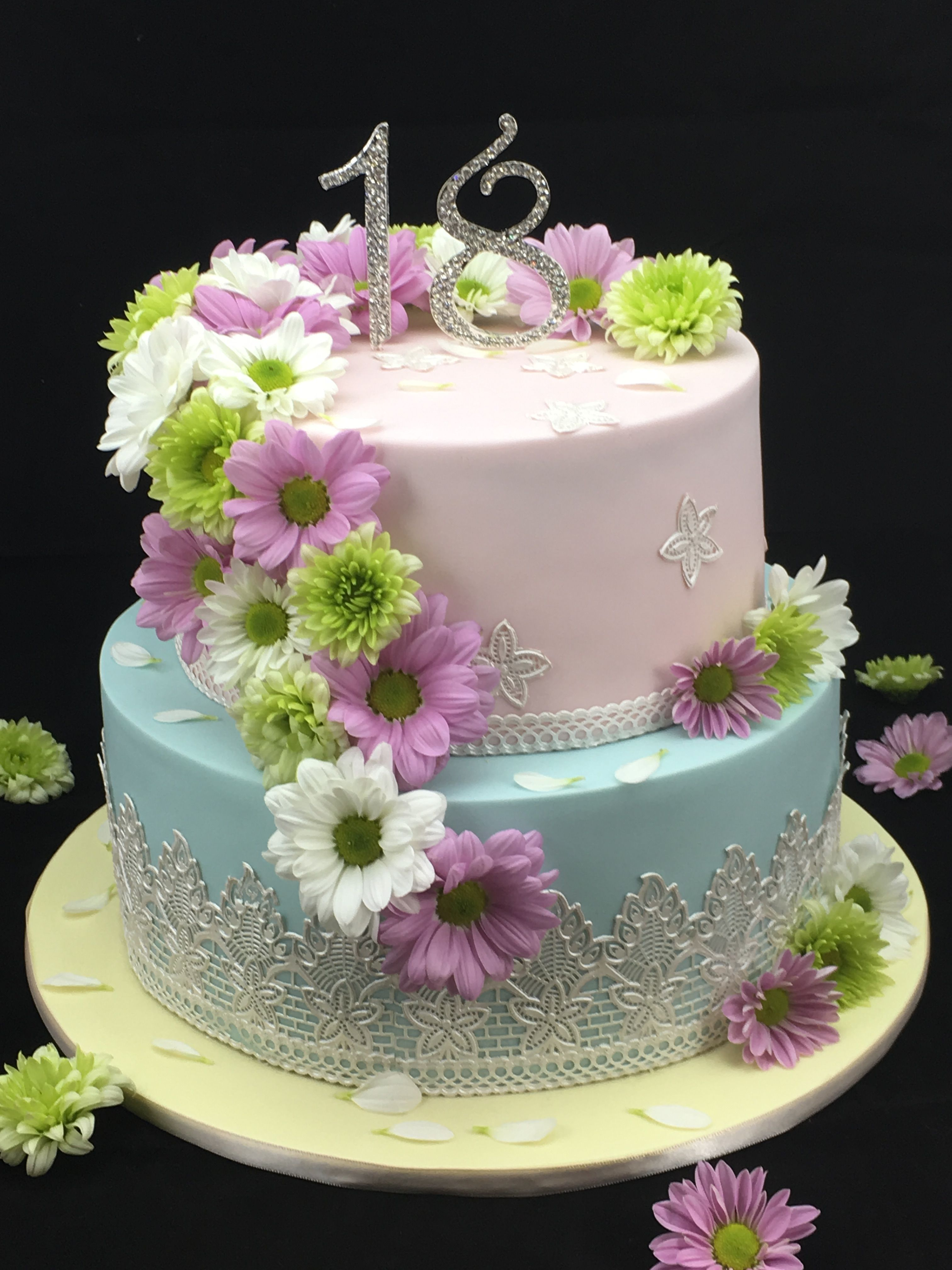 Two Tier Pale Pink And Blue 18th Birthday Cake With Edible Lace And