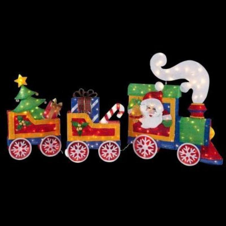 Waving Santa Tinsel Lighted Christmas Train 3D Outdoor ...
