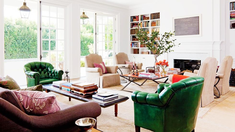 Love these windows and the two seating areas, great modern and traditional combo
