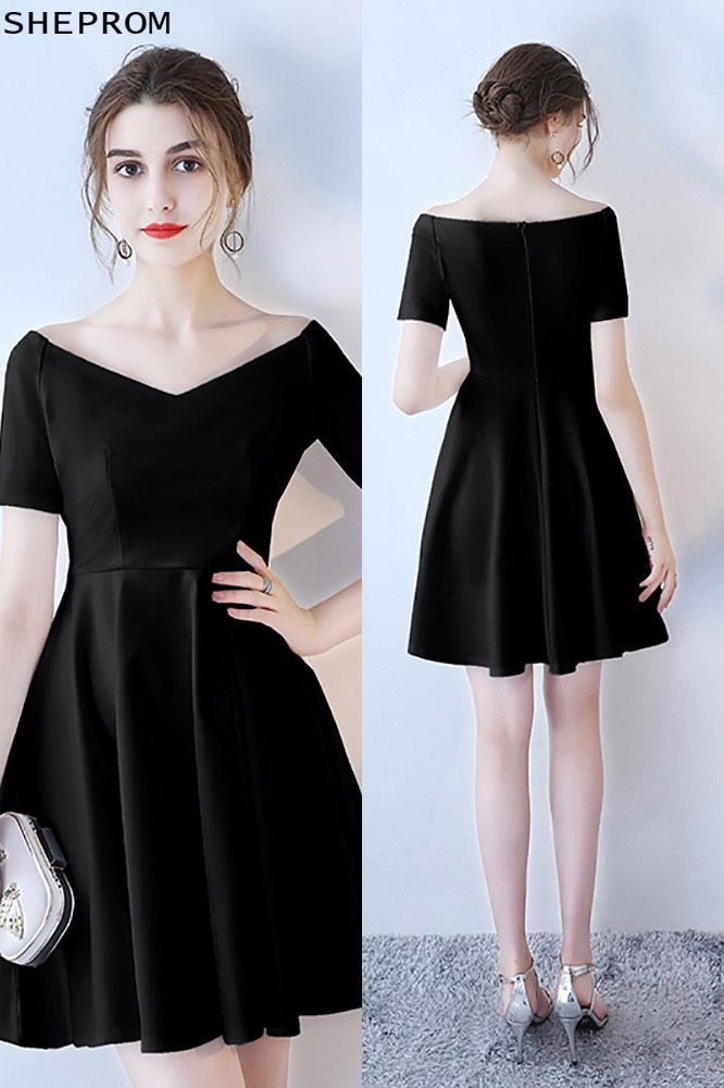 various styles release date: vast selection Short Black V-neck Homecoming Dress with Short Sleeves ...