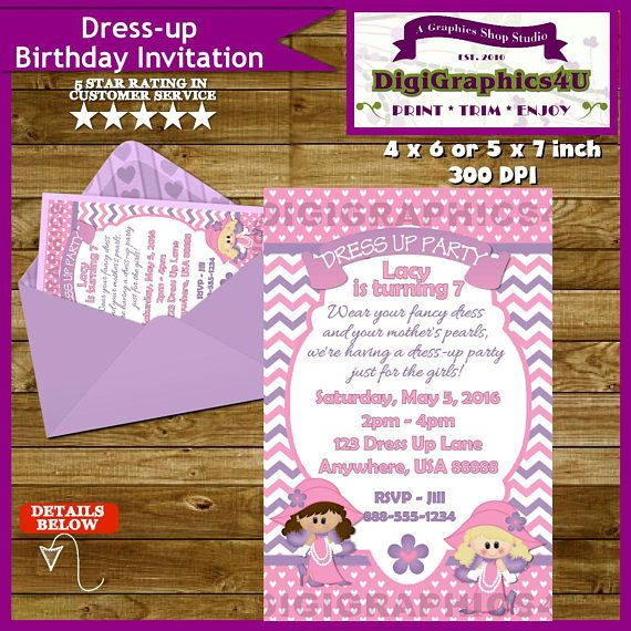 Dress Up, Pigtails and Pearls Birthday Party Invitation for Girls in ...