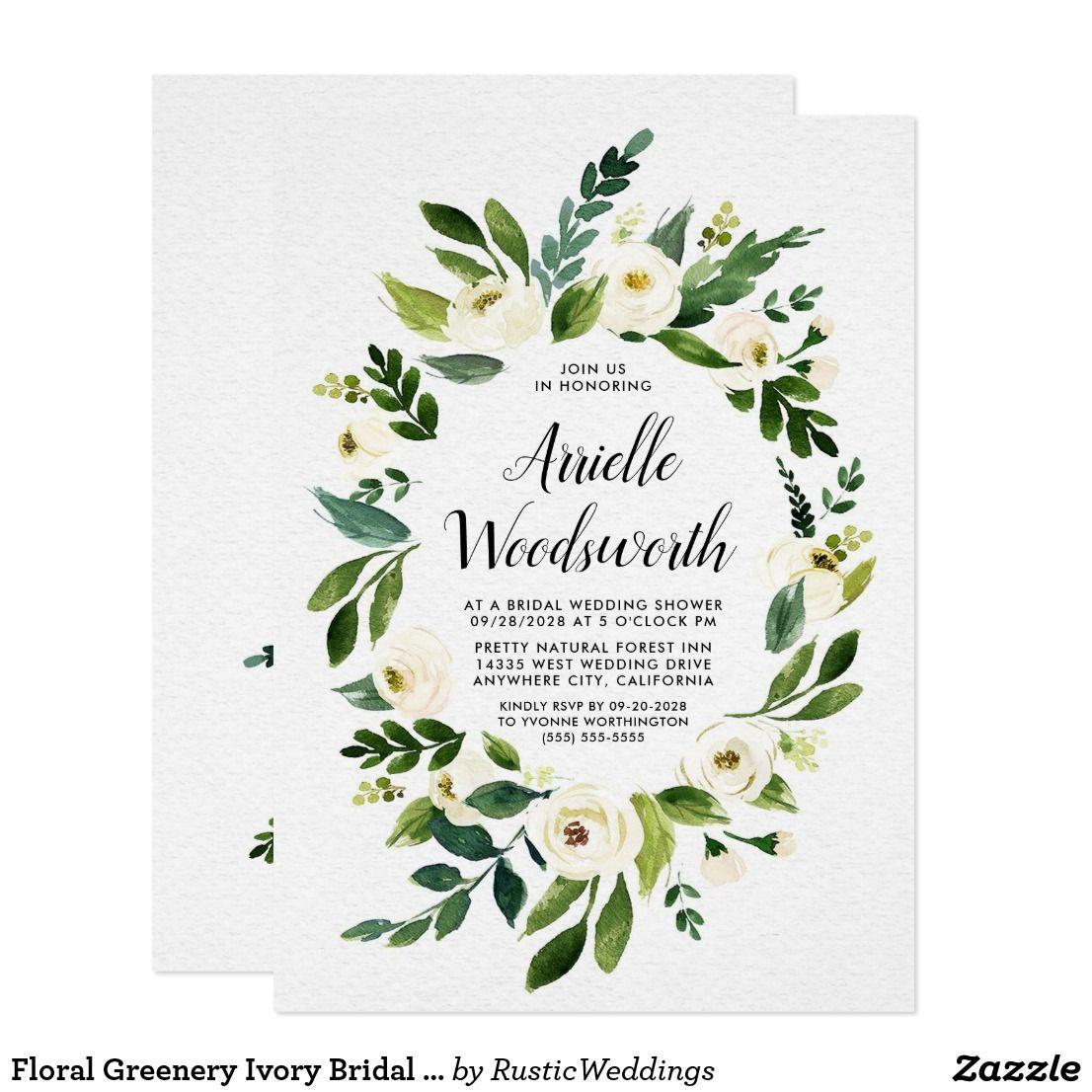 Floral Greenery Ivory Bridal Shower Invitations | Zazzle ...