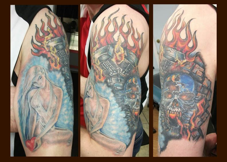 Harley davidson engine skull flames fantasy girl tattoo