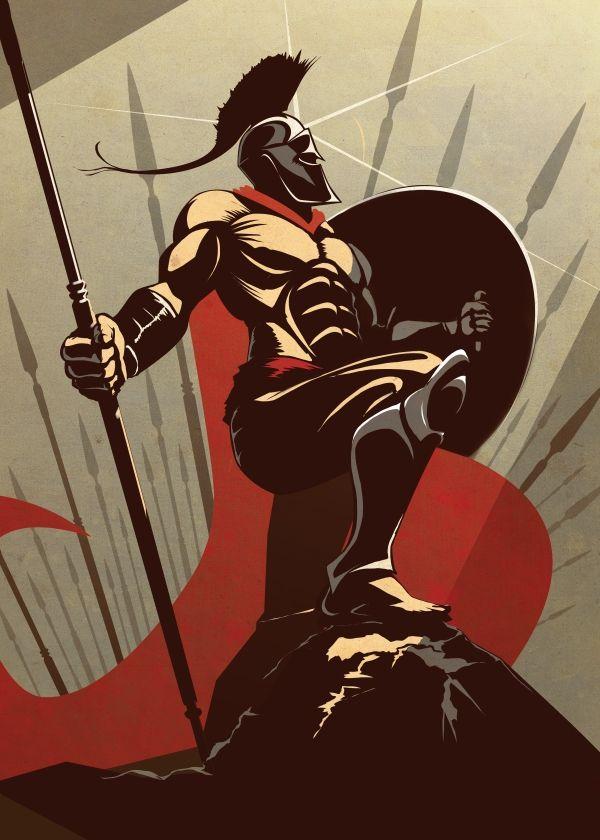 The Spartan Metal Poster Print Eden Design Displate Warrior Drawing Spartan Warrior Eden Design
