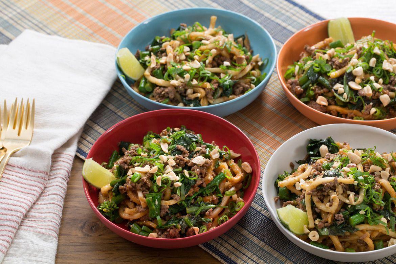 Blue apron arlington - Stir Fried Beef Udon Noodles With Gai Lan Thai Basil