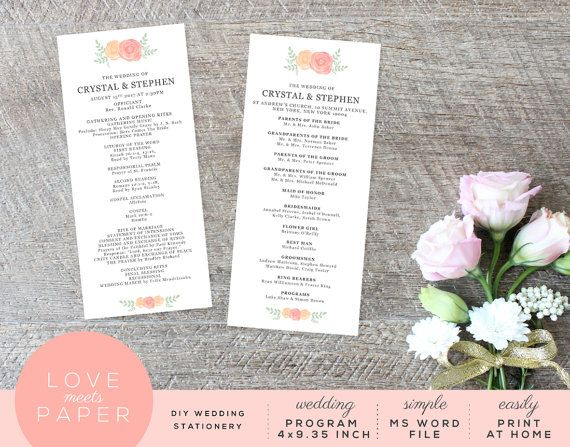 Church Floral DIY Wedding Program Word Template by LoveMeetsPaper - church program