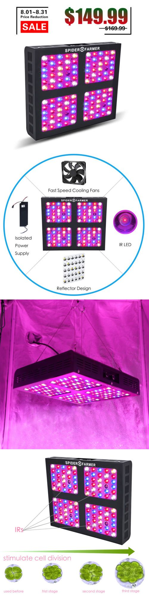 Grow Light Ballasts 179016 Spider Farmer 600w Led Grow Light Dimmable Hydroponic Full Specturm Indoor Plant Buy It Now On Led Grow Lights Grow Lights Light