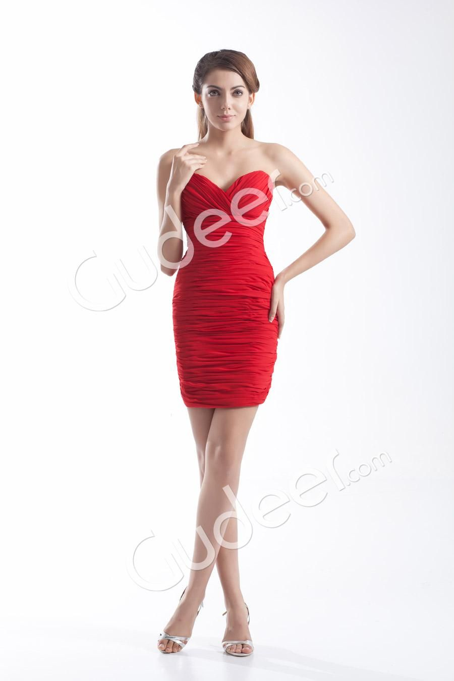 Red chiffon strapless sweetheart short slim mini pleated prom dress