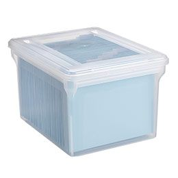 Clear Stackable File Tote Boxes Container store Filing and Box