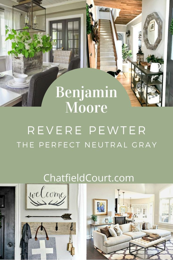 15 beautiful rooms painted in Benjamin Moore Revere Pewter. It's the perfect gray/greige paint color for any room in your home.