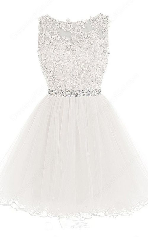 White Scoop Neckline Sleeveless Tulle Mini Princess Beading Appliques Lace Short Homecoming Dress