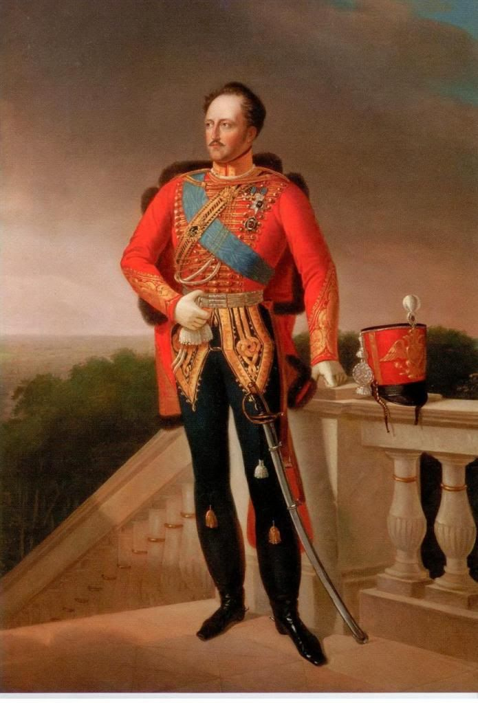 Portrait by Unknown Artist of Tsar Nicholas I Pavlovich Romanov (6 Jul 1796 Gatchina-2 Mar 1855 St. Petersburg age 58) Russia standing with sword by red hat. 9th Child of Tsar Paul I Petrovich Romanov (1754 St. Petersburg-1801 St. Petersburg age 46) Russia & 2nd wife Tsarina Sophie Dorothea-Maria Feodorovna (1759 Prussia-1828 Russia age 69) Prussia. Posted on Pinterest by Lyudmila.
