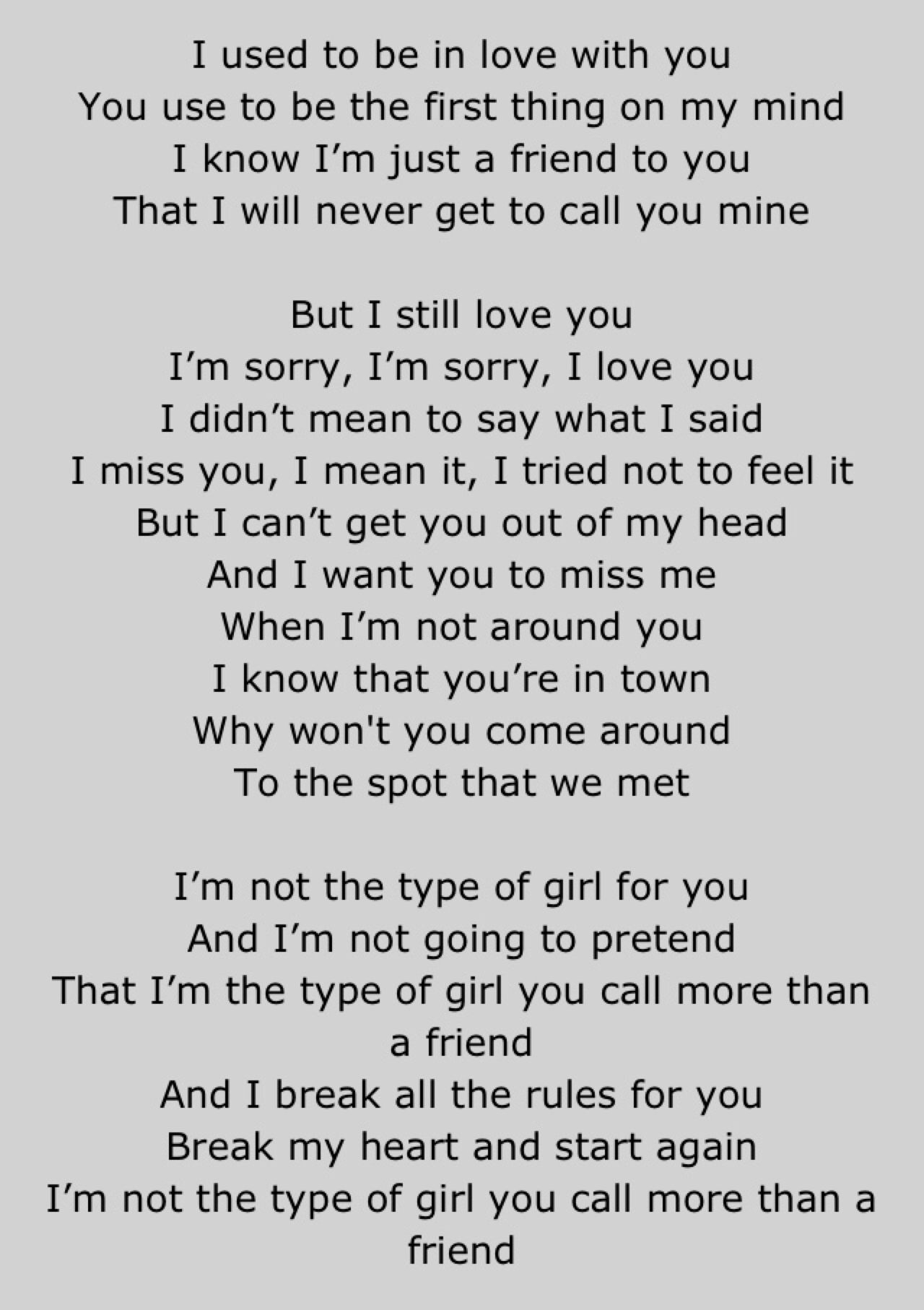 Your Type Carly Rae Jepsen Pretty Words 2016 Quotes I Still Love You