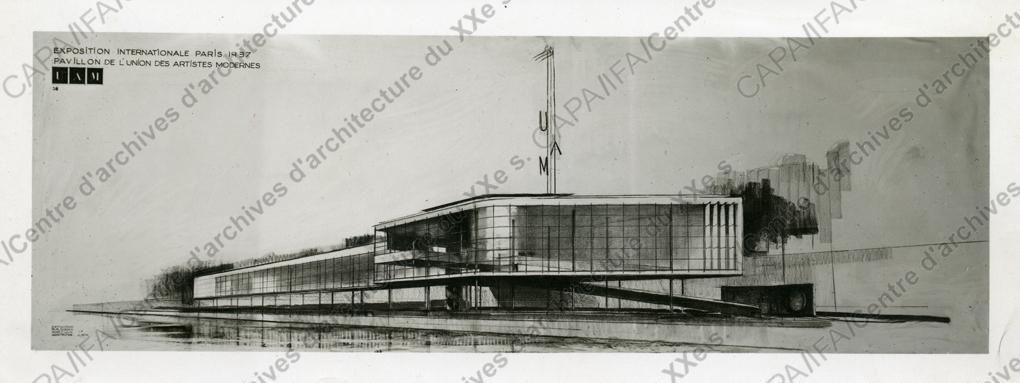 Fonds Pingusson, Georges-Henri (1894-1978) 1936-1937. Exposition internationale de Paris, 1937. Pavillon de l'UAM, quai d'Orsay, Paris 7e : vue d'une perspective d'ensemble, n.d. (cliché Chevojon)